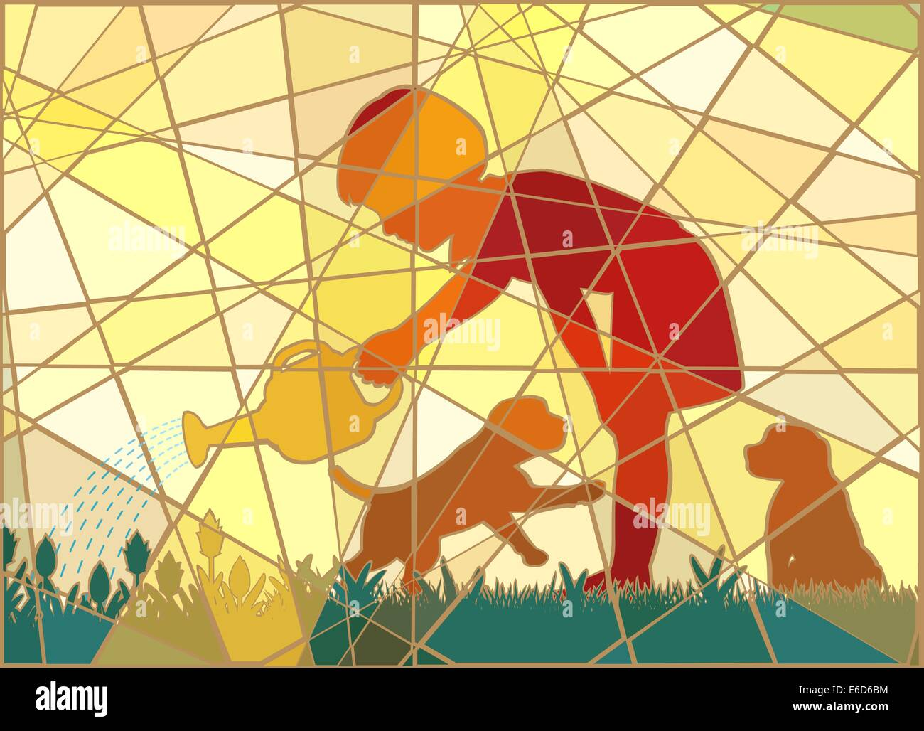 Editable vector colorful mosaic illustration of a young girl watering her garden with two puppies in summer - Stock Image