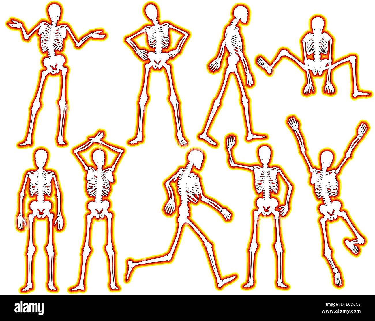 Set of editable vector skeleton outlines with a glowing edge - Stock Vector
