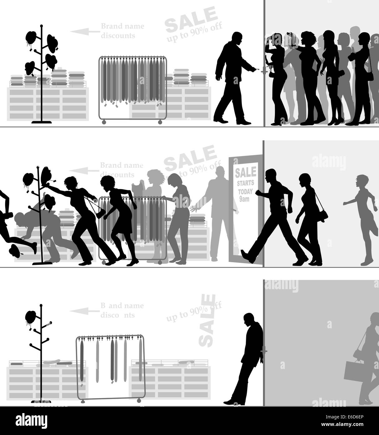 Editable vector illustrated sequence of a sale at a store - Stock Vector