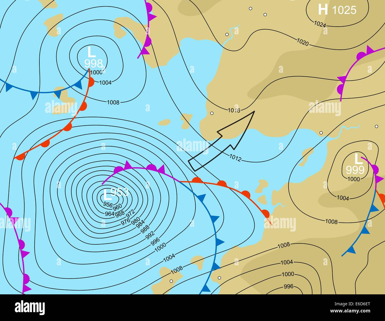 Editable vector illustration of a generic weather map showing a storm depression - Stock Image