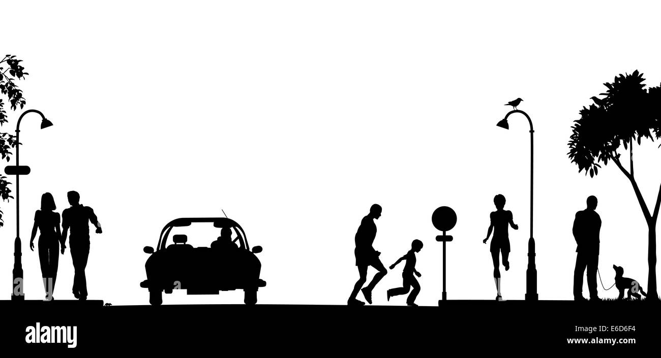 Editable vector silhouette of a busy street with all elements as separate objects - Stock Vector
