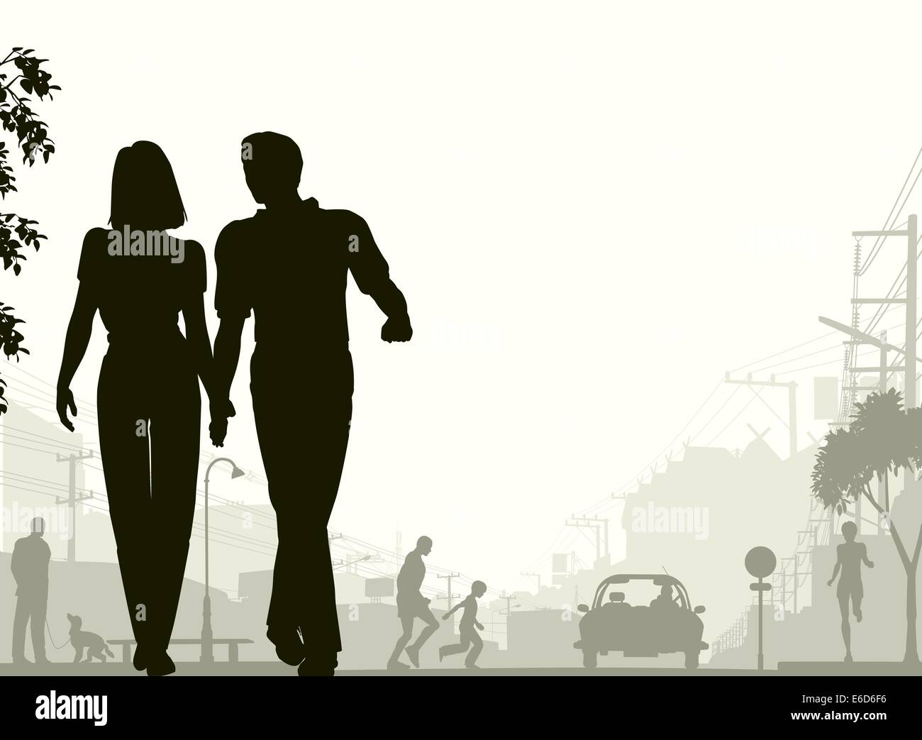Editable vector silhouette of a couple walking down a street with all silhouette elements as separate objects. - Stock Vector