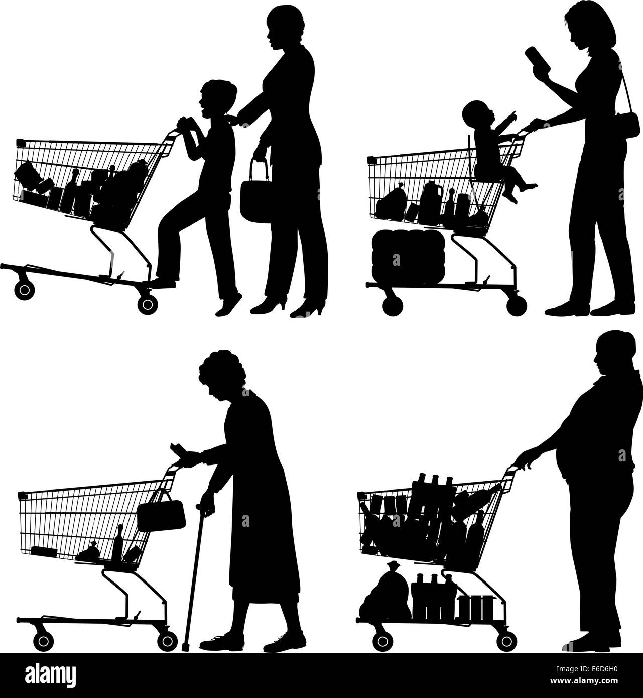 Editable vector silhouettes of people and their supermarket shopping trolleys with all elements as separate objects - Stock Image