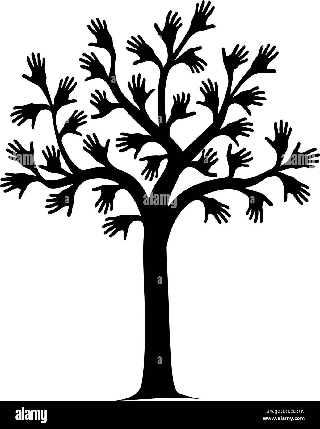 Vector illustration of a tree outline with hands for leaves Stock