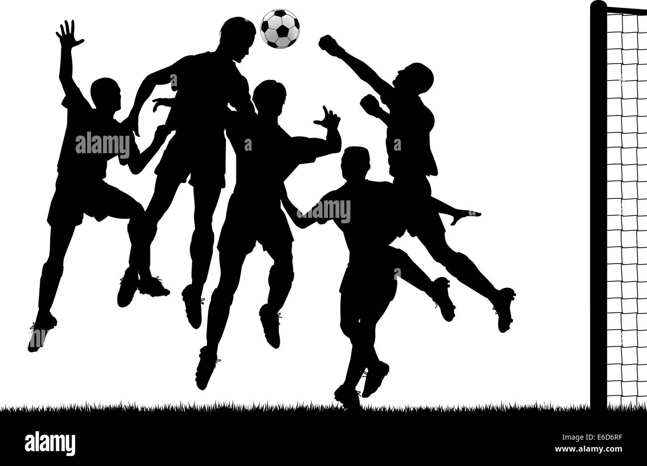 Editable vector silhouette of a footballer heading the ball at goal with all players as separate objects - Stock Vector