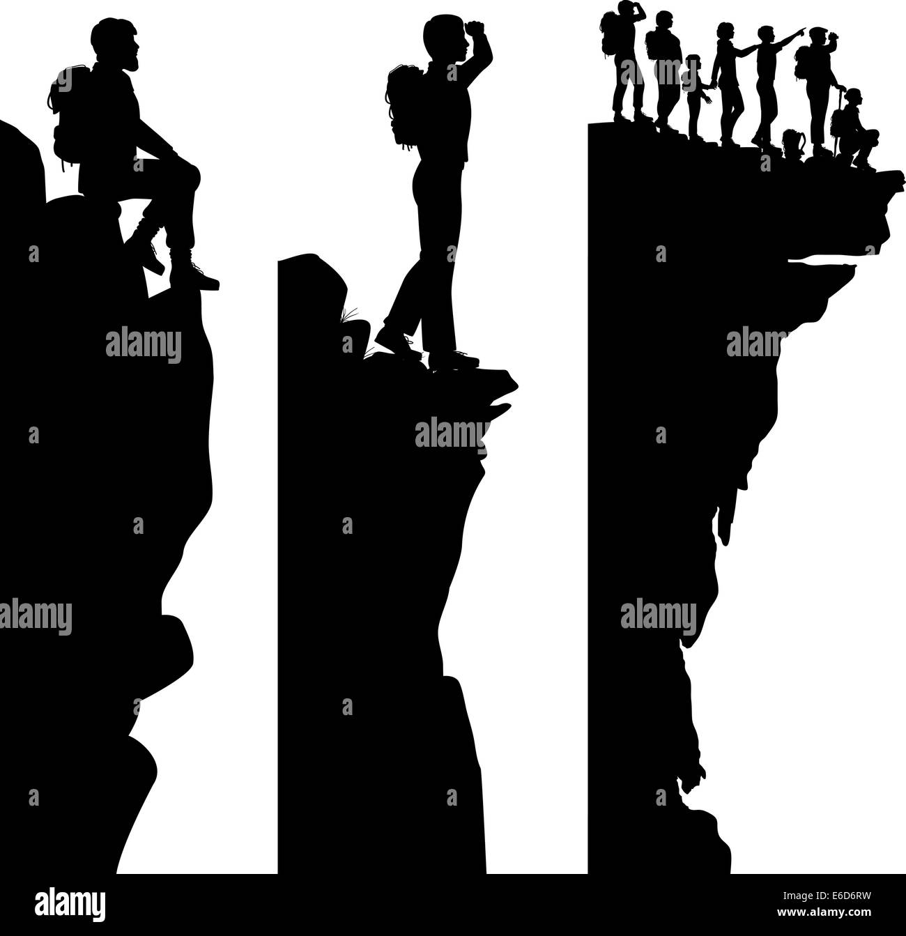 Three editable vector side panel silhouettes of hikers standing on top of a cliff or outcrop with all people as - Stock Vector