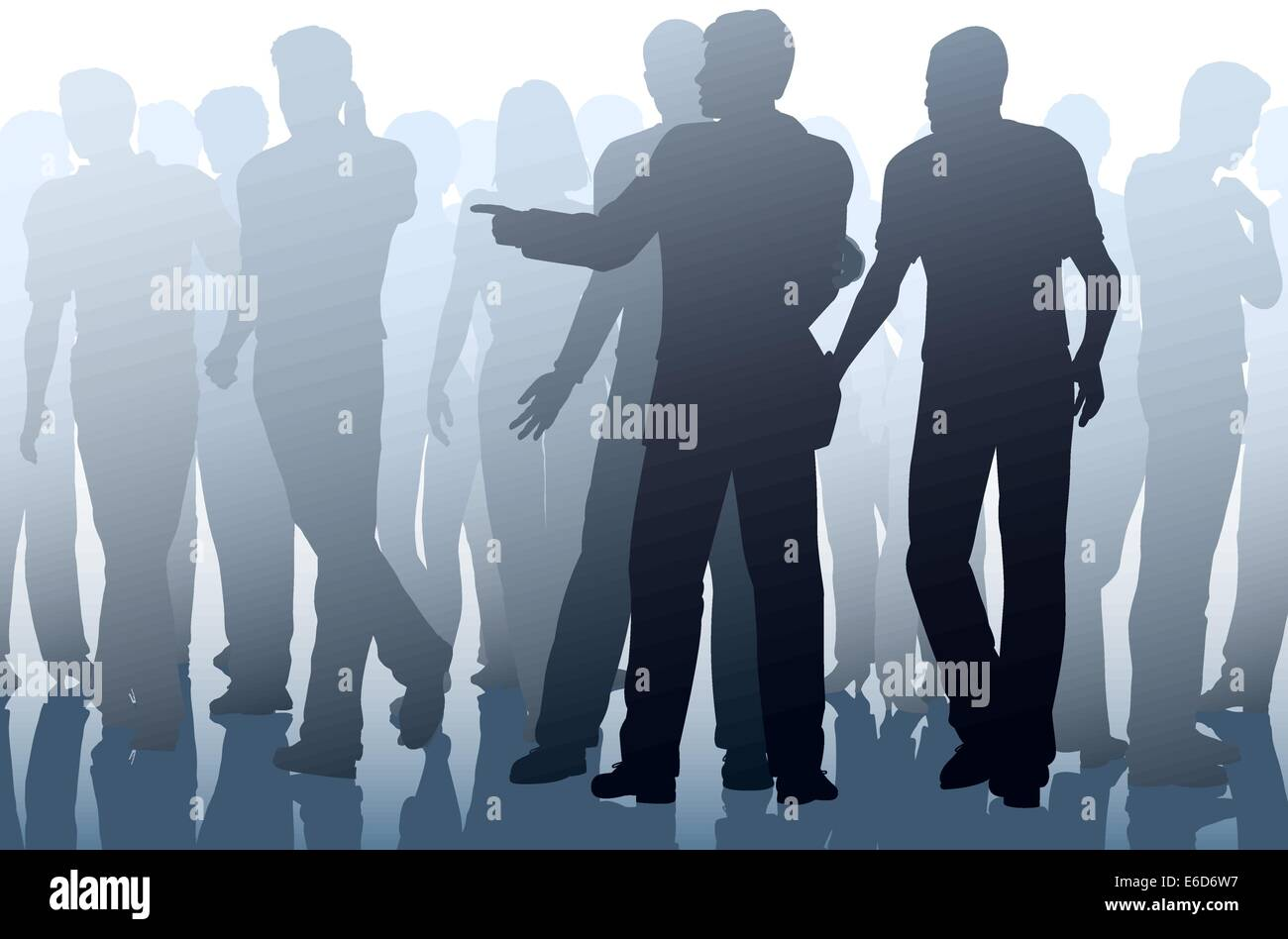 Editable vector illustration of two men working together as pickpockets - Stock Vector