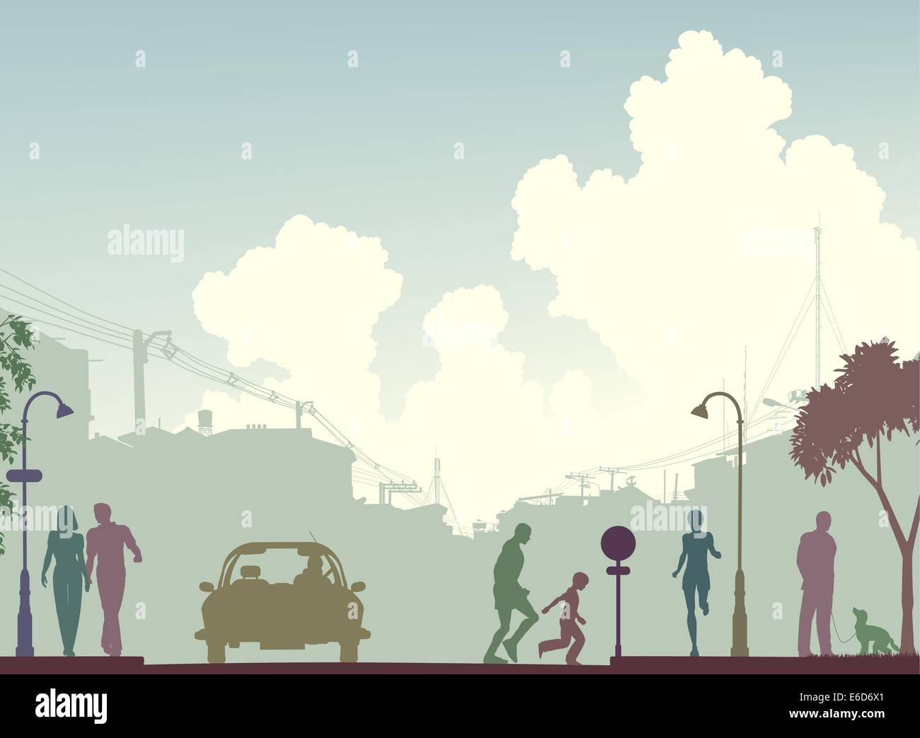 Editable vector silhouette of a busy street with all elements as separate objects. - Stock Vector