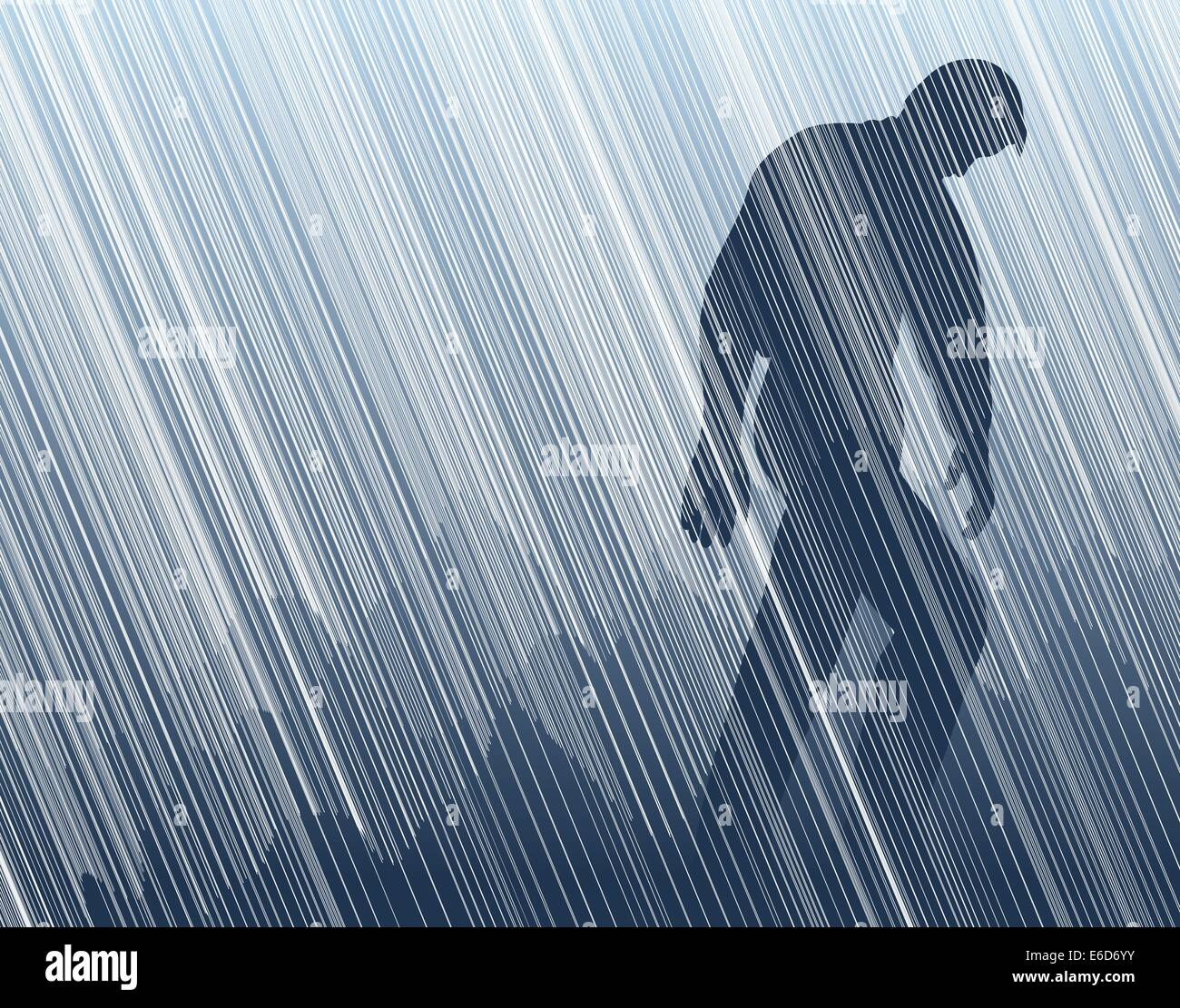 Editable vector illustration of a man walking in torrential rain Stock Vector