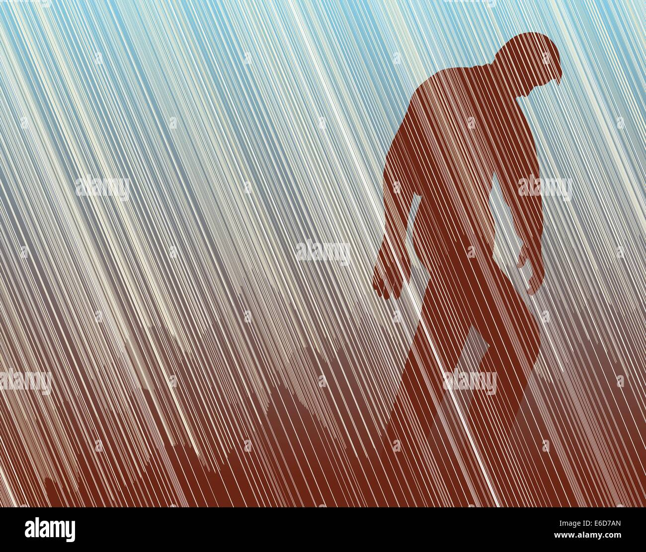 Editable vector illustration of a man walking in torrential rain - Stock Vector
