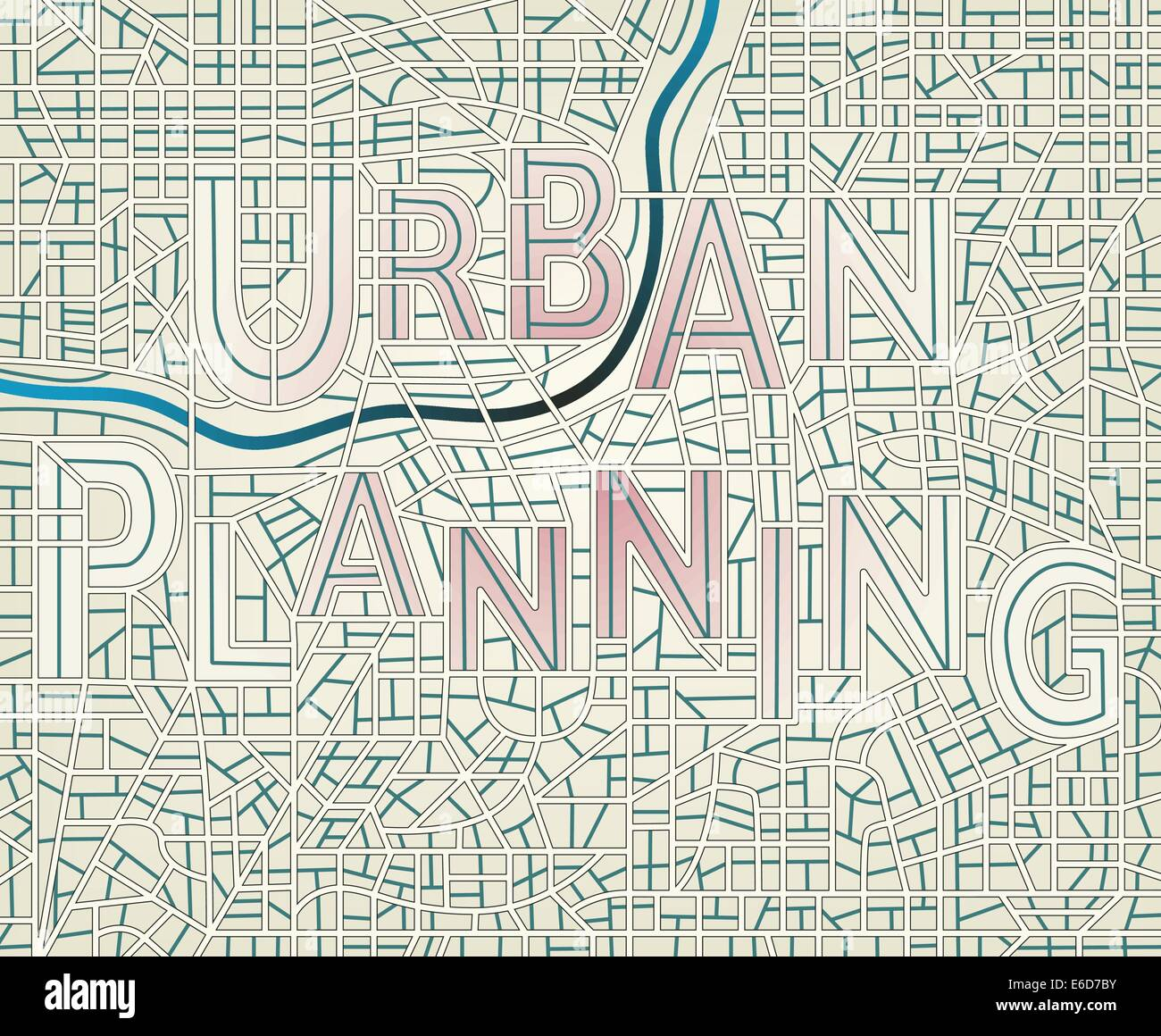 Editable vector map of a generic city with the streets spelling the words 'Urban Planning' - Stock Image
