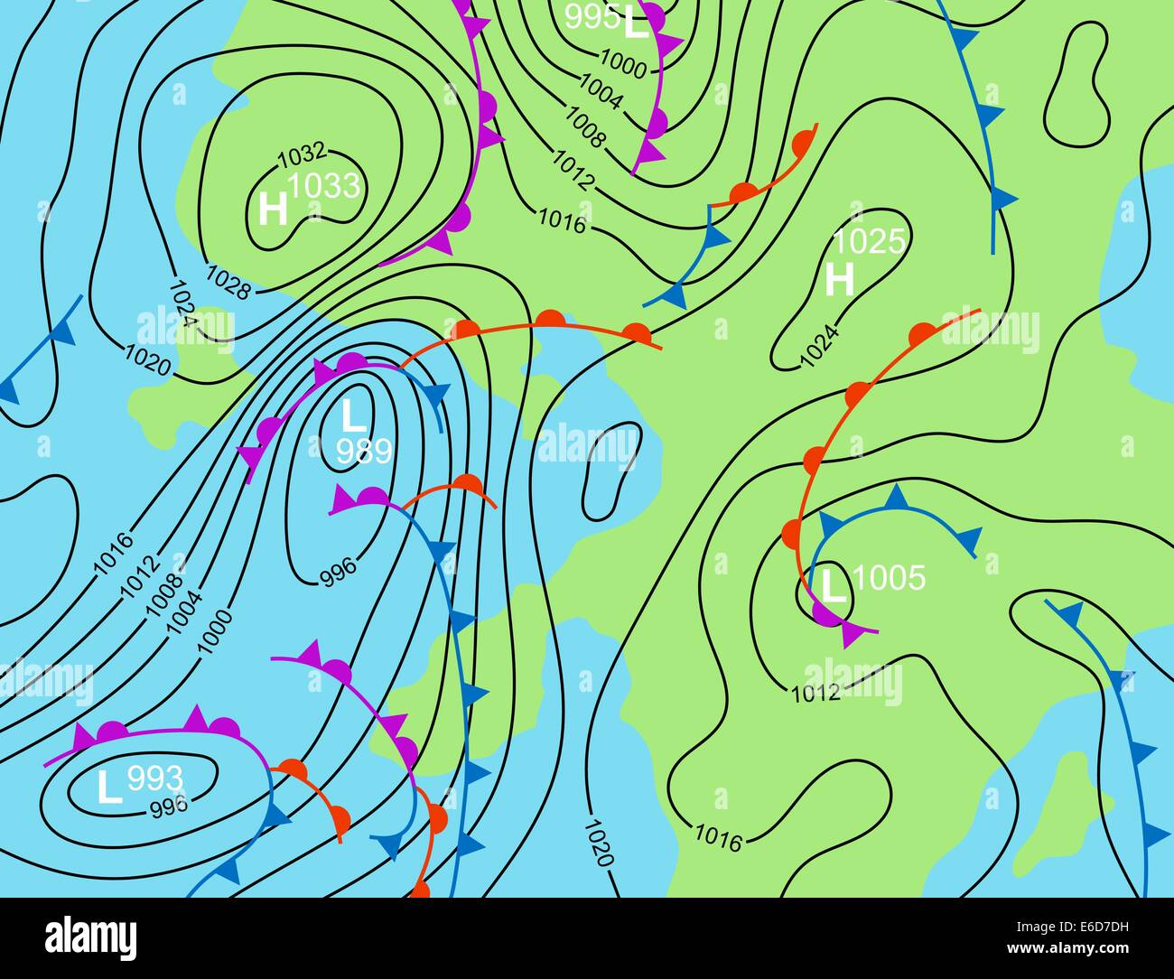 Editable vector illustration of a generic weather system map - Stock Image