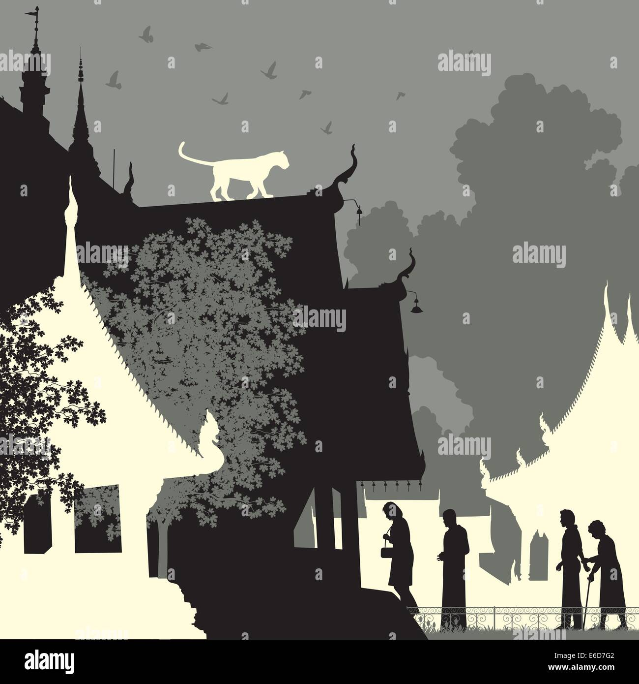 Editable vector silhouette of a leopard on a Buddhist temple roof with figures as separate objects - Stock Image
