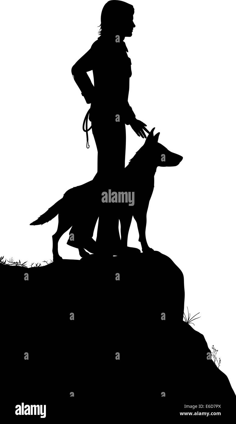 Editable vector silhouette of a man and his dog standing on a rocky outcrop with figures as separate objects - Stock Vector