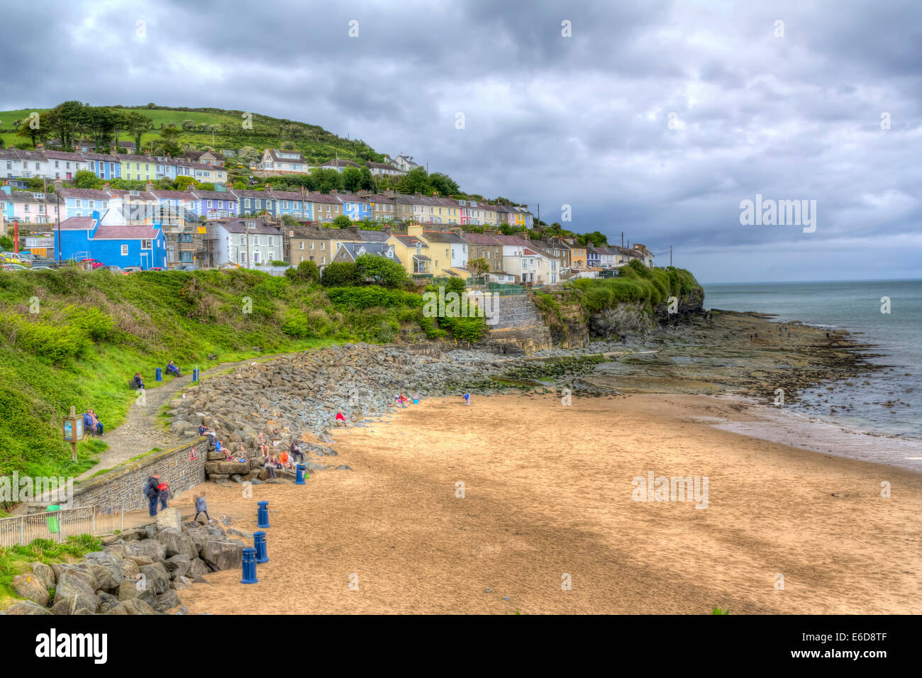 HDR shot of the beach at New Quay Wales UK Europe - Stock Image