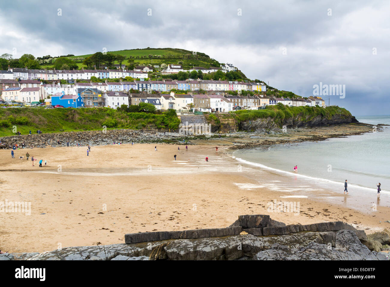 Overlooking the beach at New Quay Wales UK Europe - Stock Image