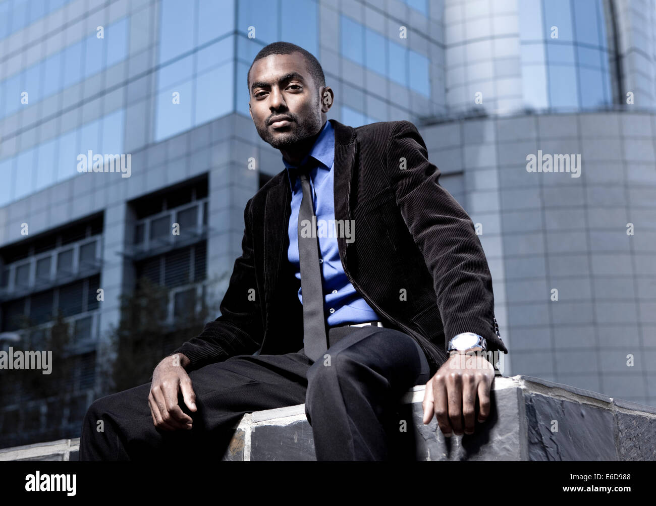 Southafrica, Young African Business Man Wearing Black Suit