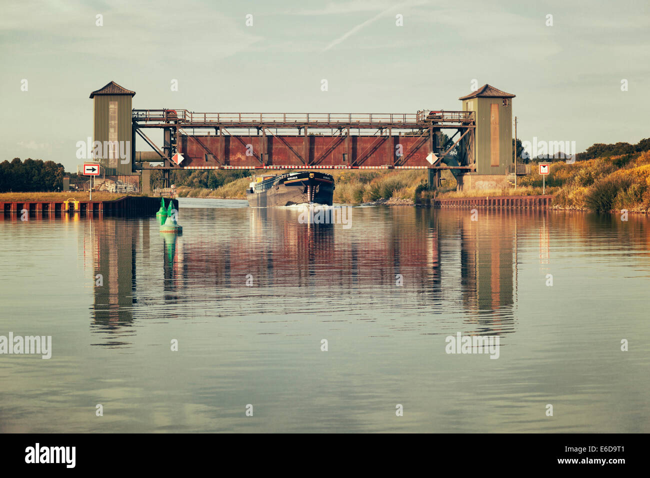 Germany, North Rhine-Westphalia, Dortmund-Ems Canal near Gelmer - Stock Image