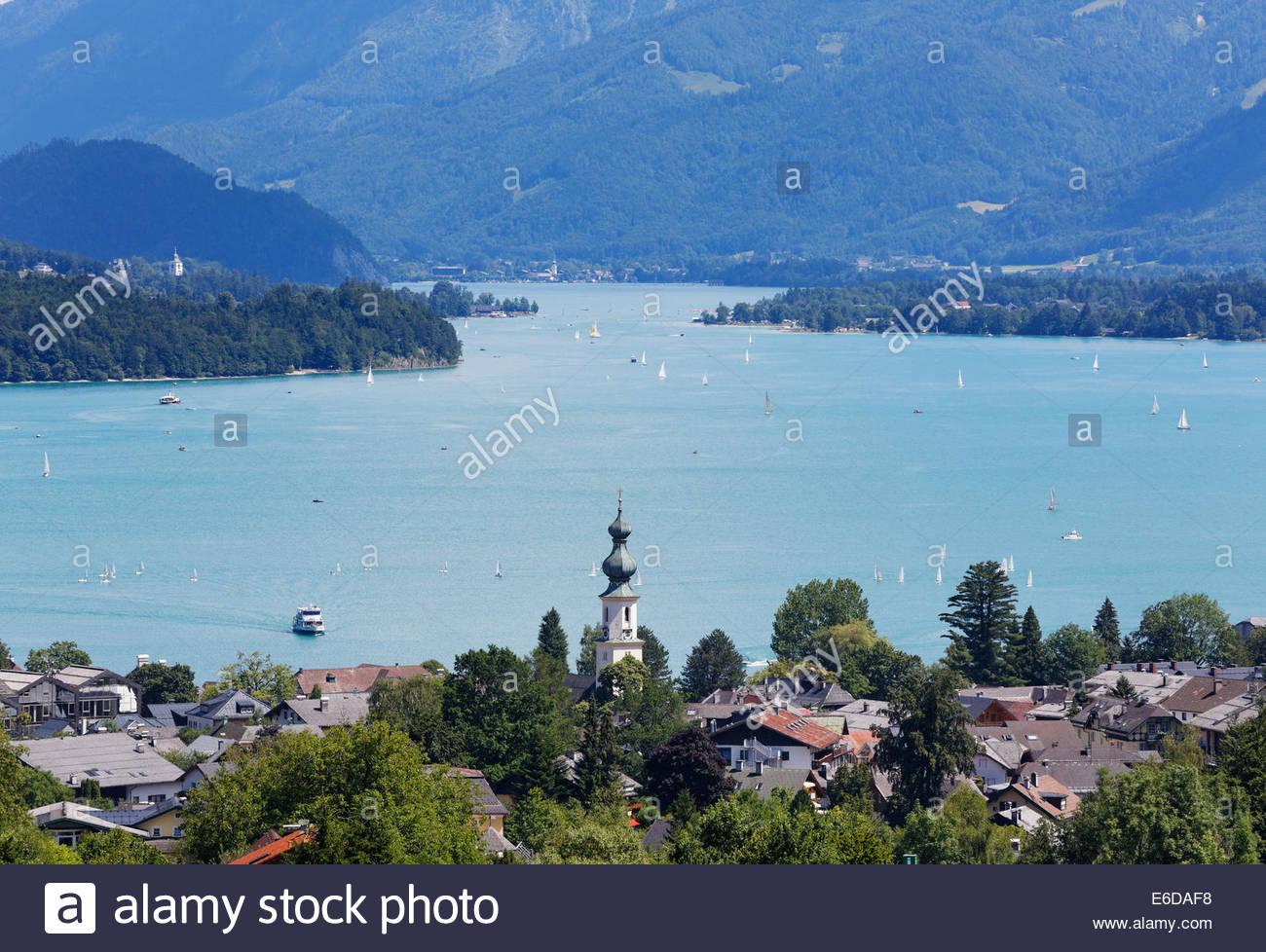 Austria, Salzkammergut, Salzburg State, Lake Wolfgangsee, St. Gilgen - Stock Image