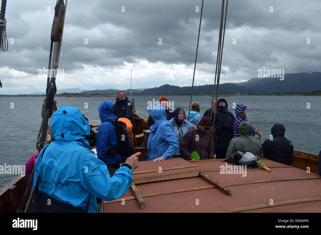 Nr.Kristiansund is theAtlanticRd,an unprotected stretch of road andis open to weather. Vikings gathered on the coast - Stock Image