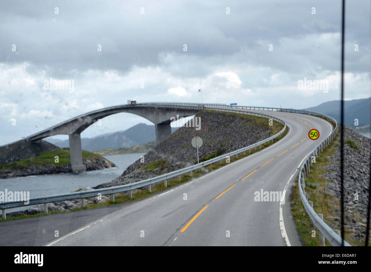 The 8.5 Km Atlantic Road near Kristiansund joins the many islands together to provide this length of unprotected - Stock Image