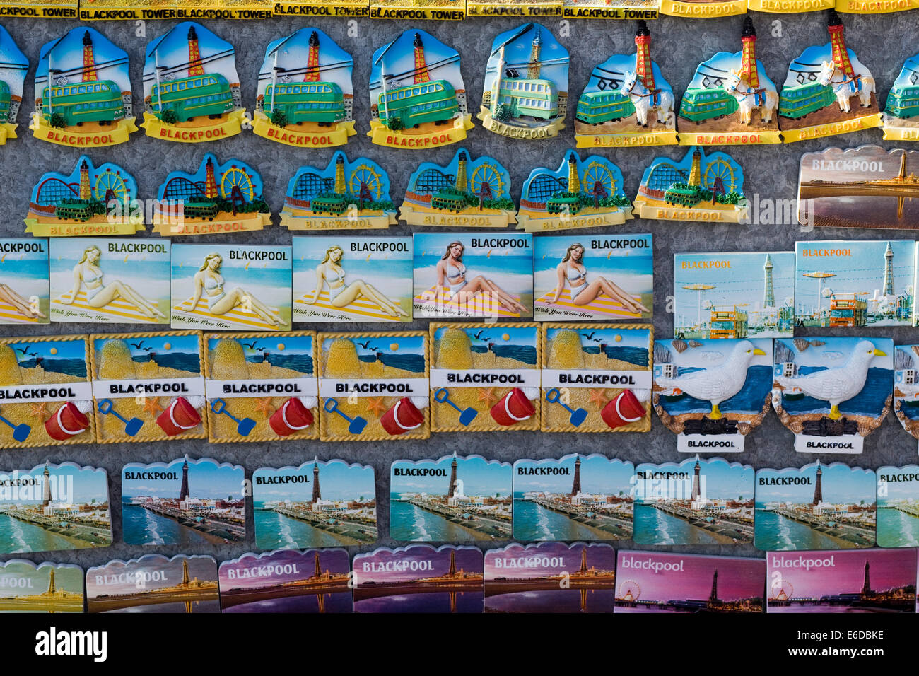 Fridge magnets along the Seafront at Blackpool Lancashire UK - Stock Image