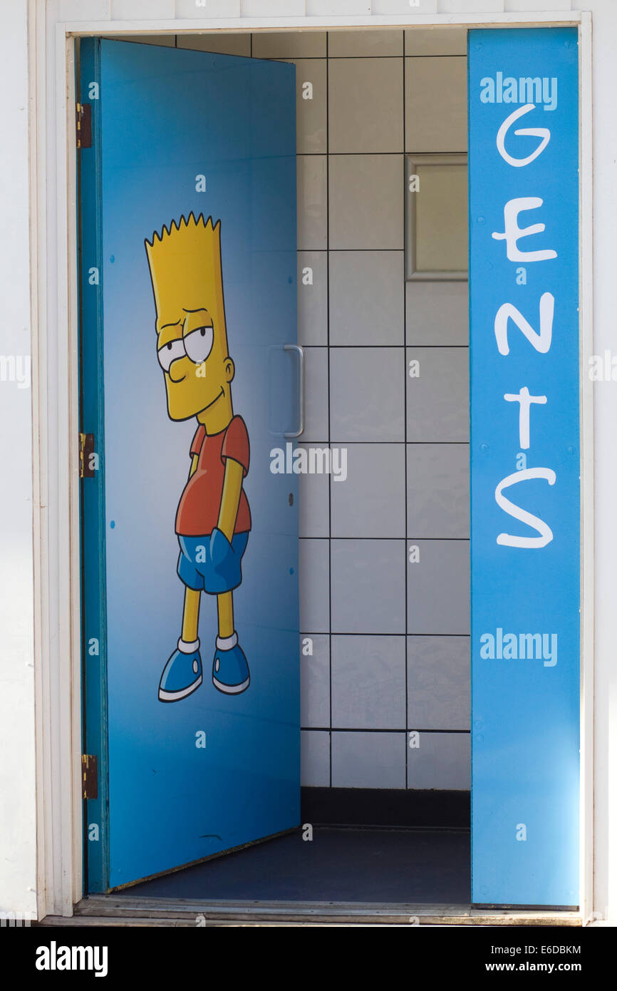 Gent toilet entrance with Bart Simpson - Stock Image