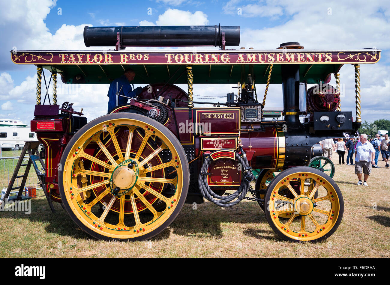 'The Busy Bee' Burrell showmans engine at an English show - Stock Image