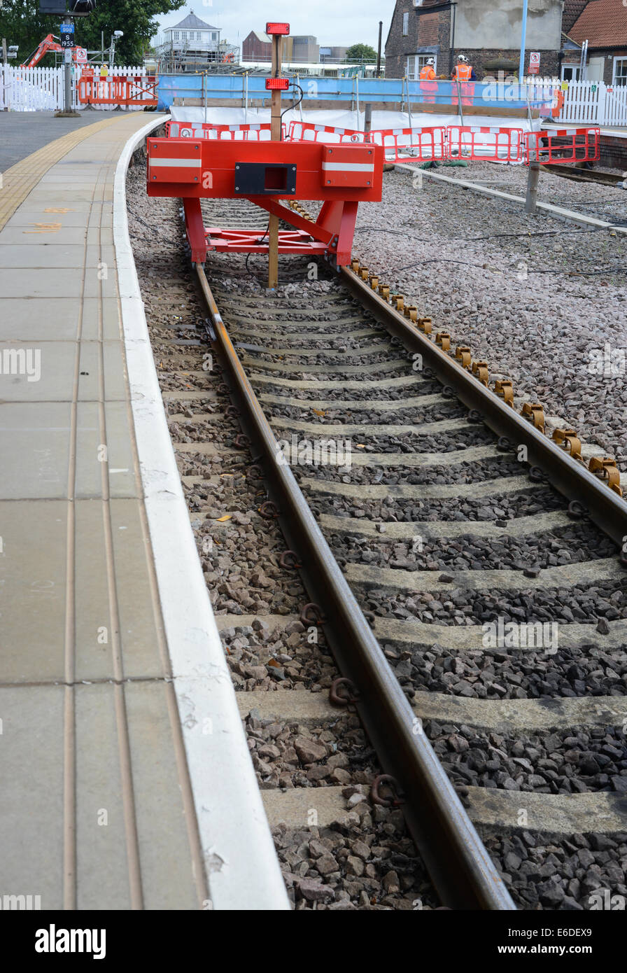 train by buffers at selby railway station yorkshire united kingdom - Stock Image