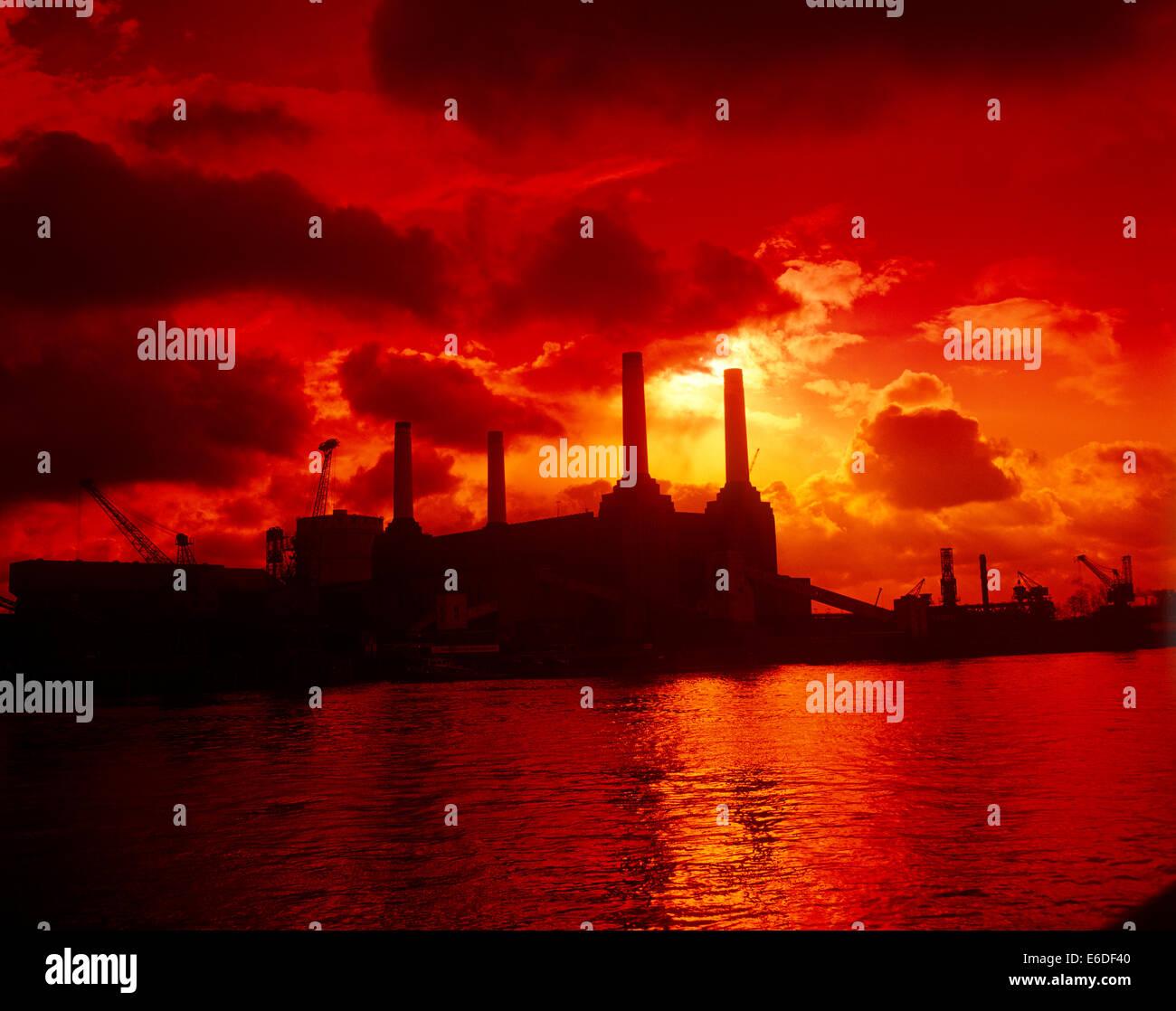 sunset at Battersea Power Station London UK - Stock Image