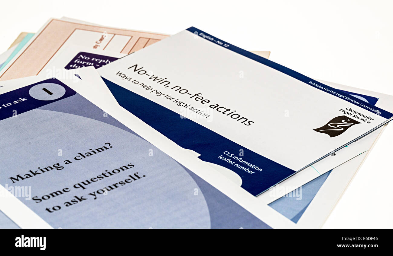 Advice leaflets for making a claim to small claims court with no win no fee information, UK - Stock Image