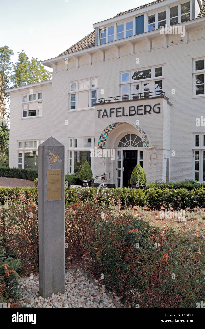 Marker in front of the Tafelberg, HQ for German commander Field-Marshall Walther Model in Oosterbeek, Arnhem, Netherlands. - Stock Image