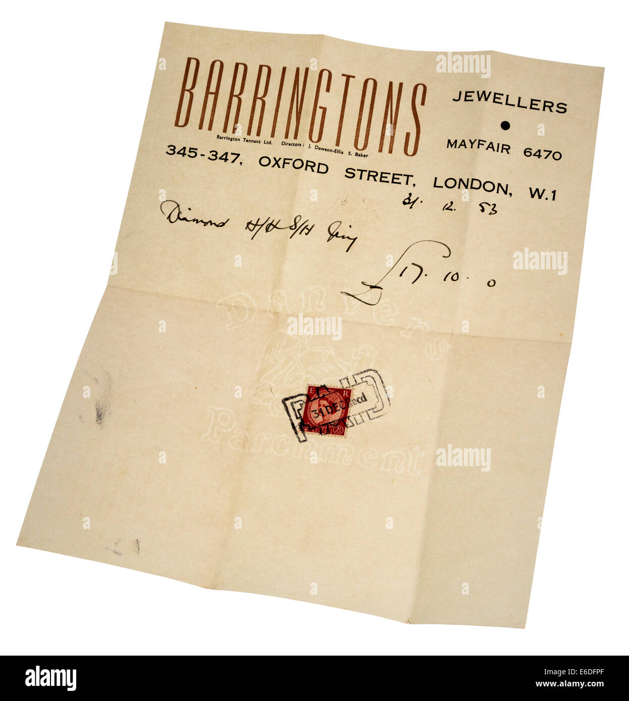 Receipt for jewelery diamond ring dated 1953, London, England, UK; Alan Calford's wedding ring purchase for - Stock Image