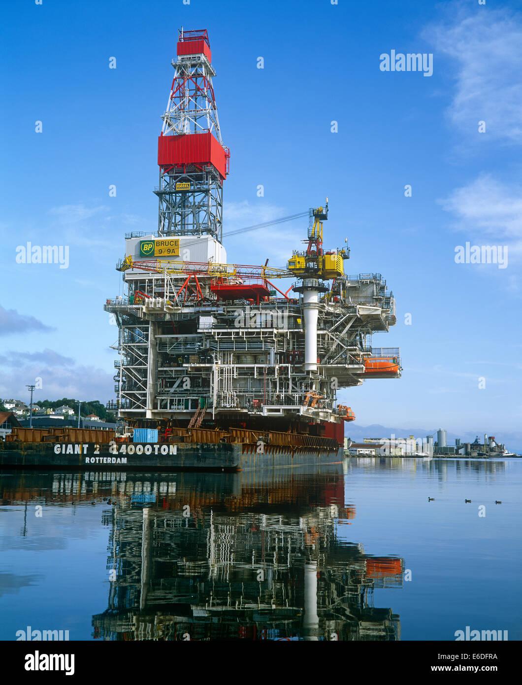 Oil rig platform Sandnes harbour Norway - Stock Image