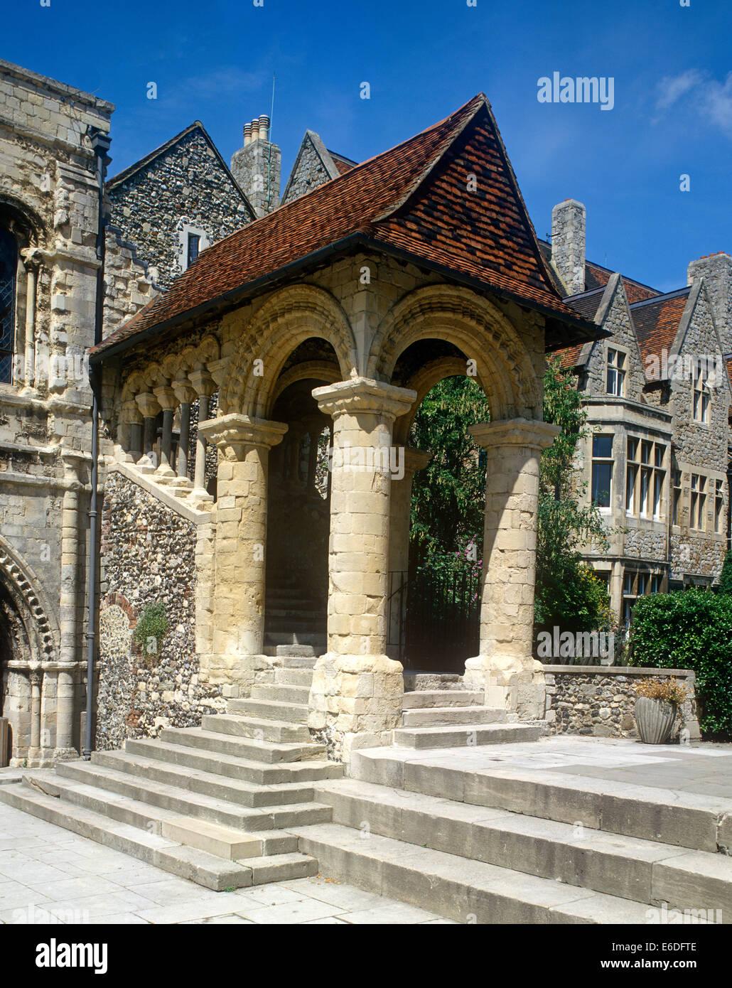 Norman stairway Kings School Canterbury Kent UK - Stock Image
