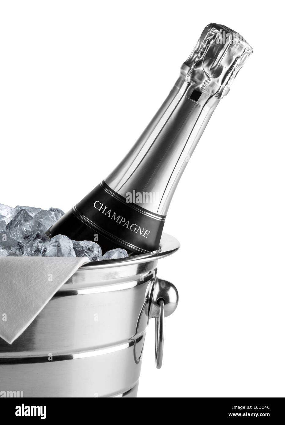 bottle of champagne in cooler - Stock Image