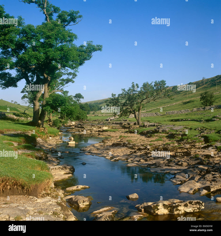 River Wharfe angsyrothdale yorkshire dales uk - Stock Image