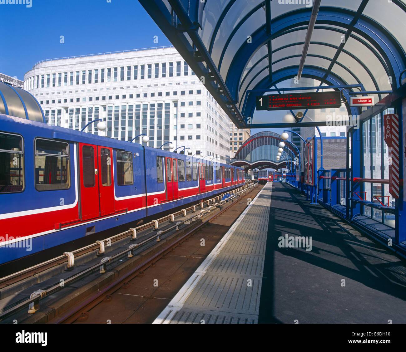Heron Quay station Docklands light railway London UK - Stock Image