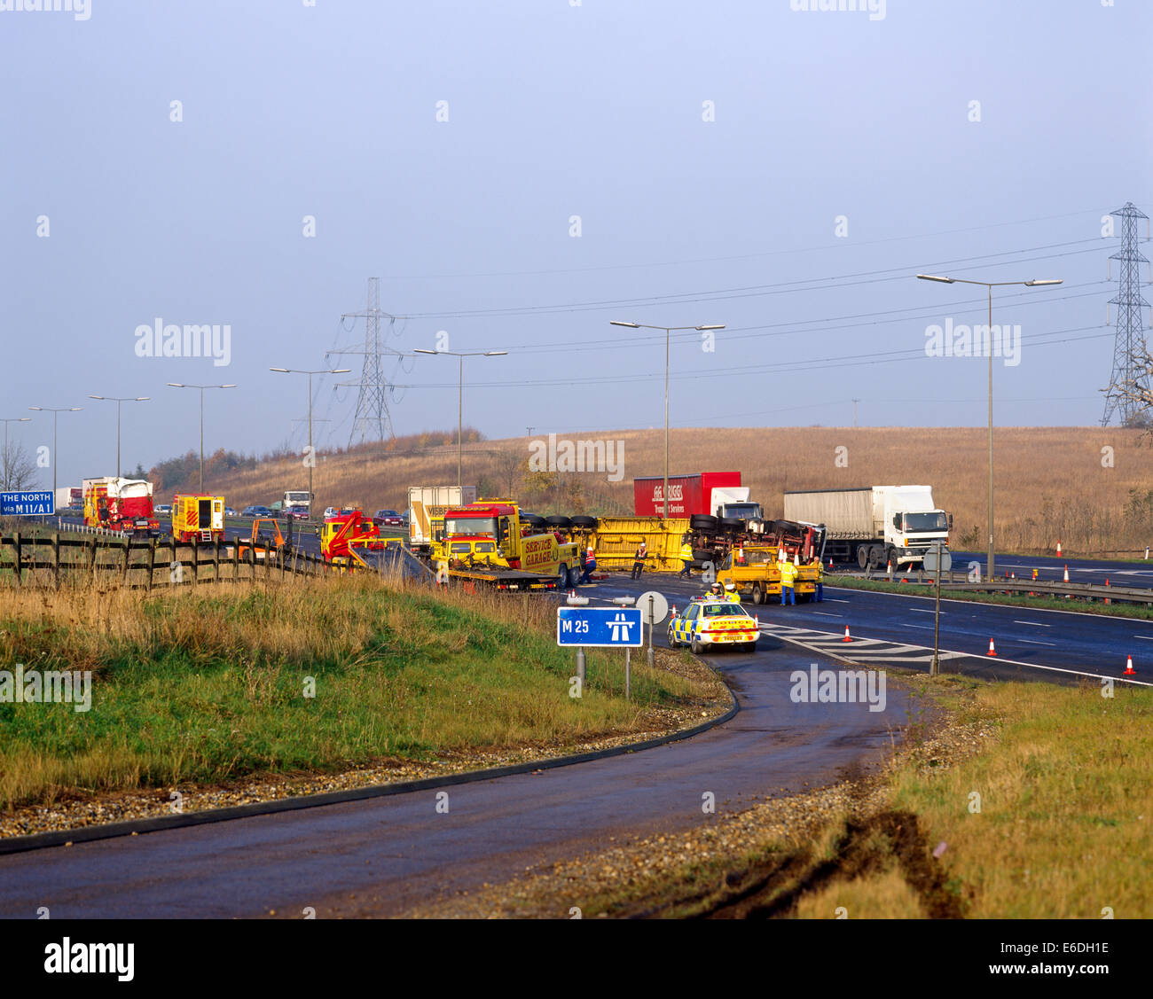 Lorry Accident m25 near Junction 27 Essex UK - Stock Image