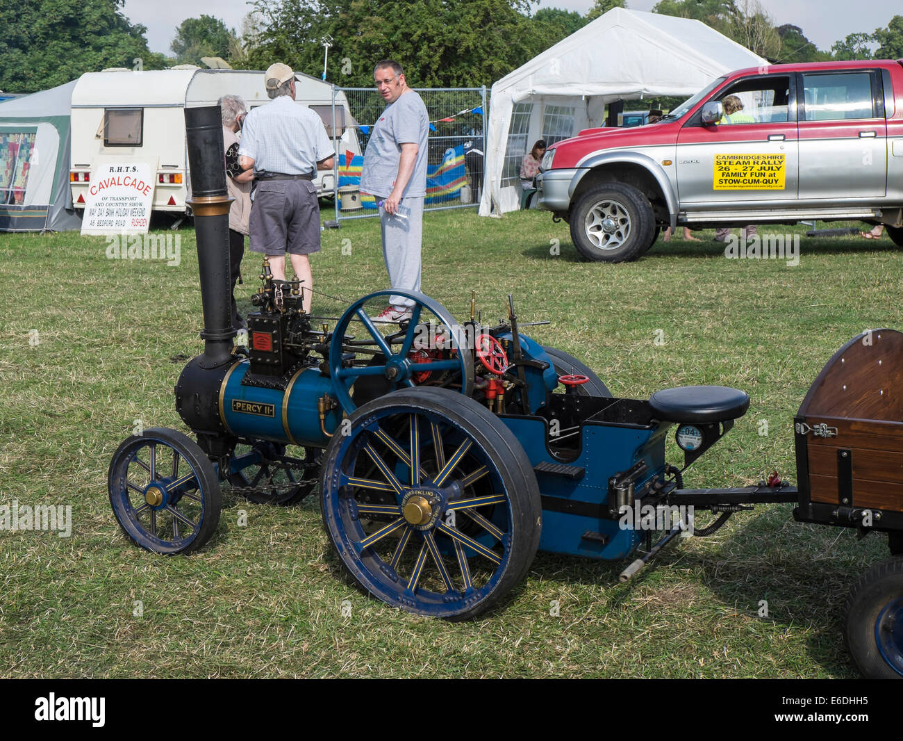 Miniature Burrell steam traction engine and trailer at Stow cum Quy show ground for Cambridgeshire Steam Rally and Stock Photo