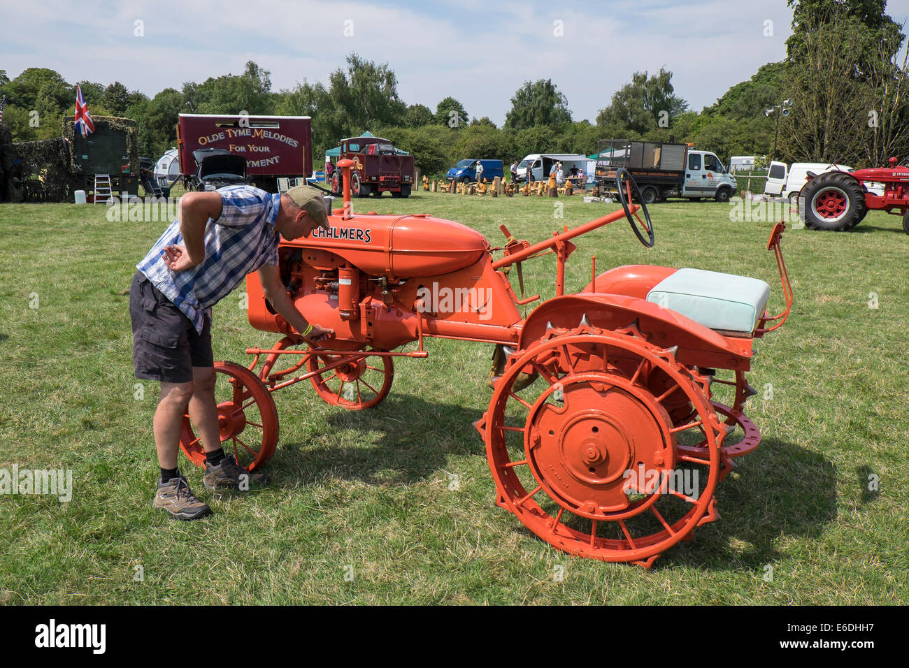 Veteran 1942 Allis Chalmers type B tractor at show ground for Stow cum Quy Cambridgeshire Steam Rally and Country Stock Photo