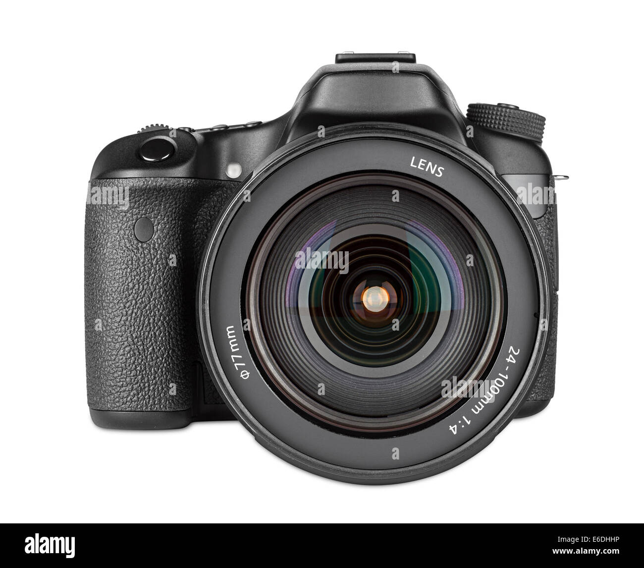 dslr camera with zoom lens mounted - Stock Image