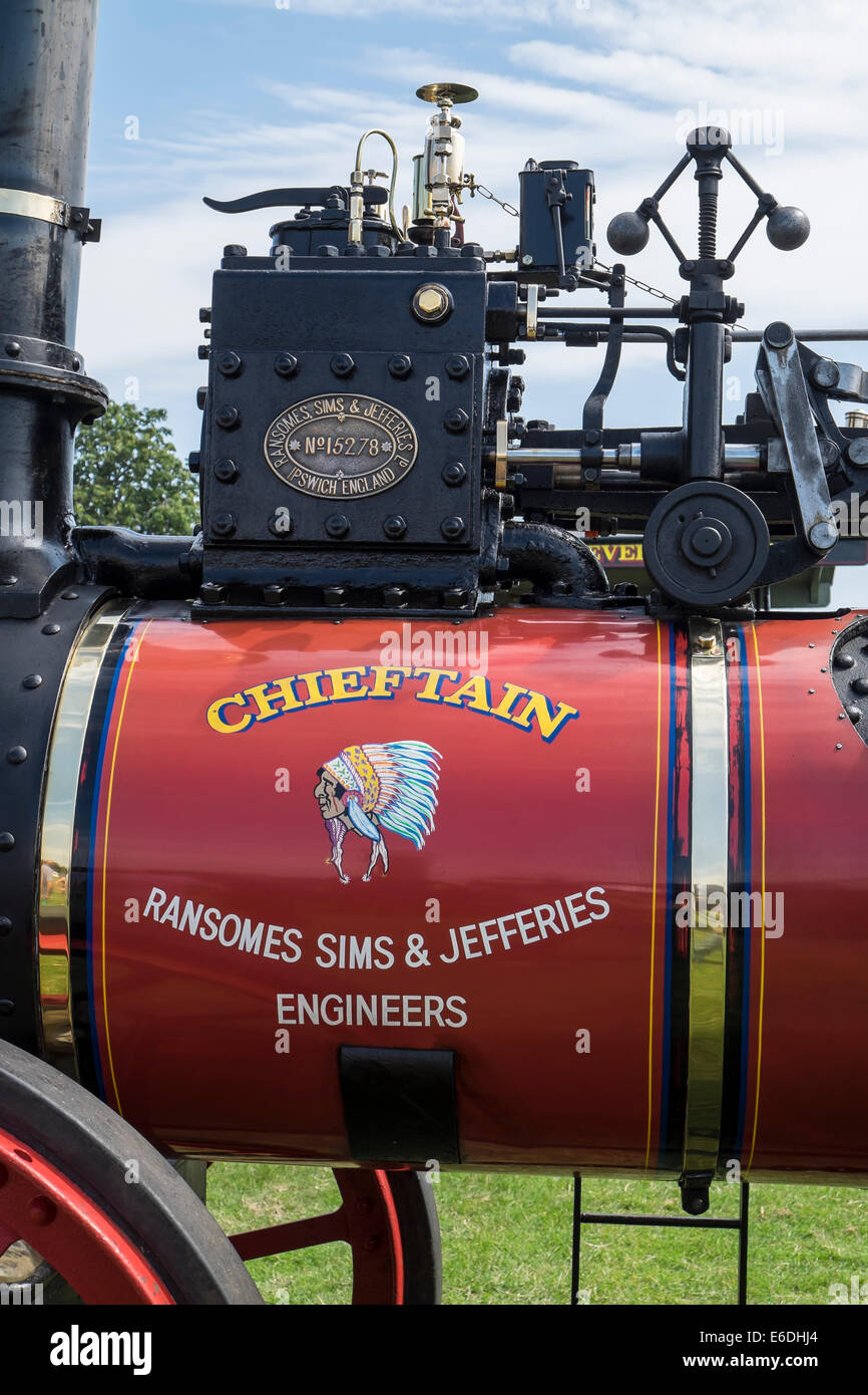 Vintage 1903 Ramsomes Sims & Jefferies traction engine Chieftain valve gear and governor at Cambridgeshire Steam - Stock Image