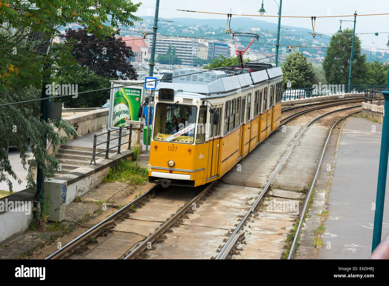 Budapest yellow tram as part of city public transport system Stock Photo