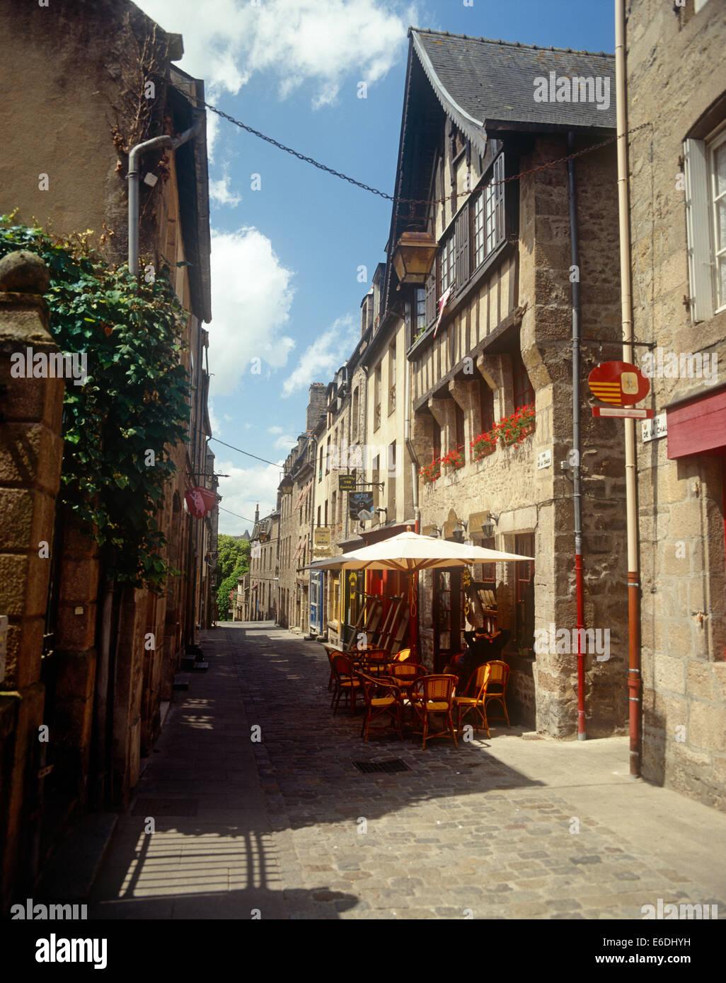 French street scene in Rue du Jerzual Dinan - Stock Image