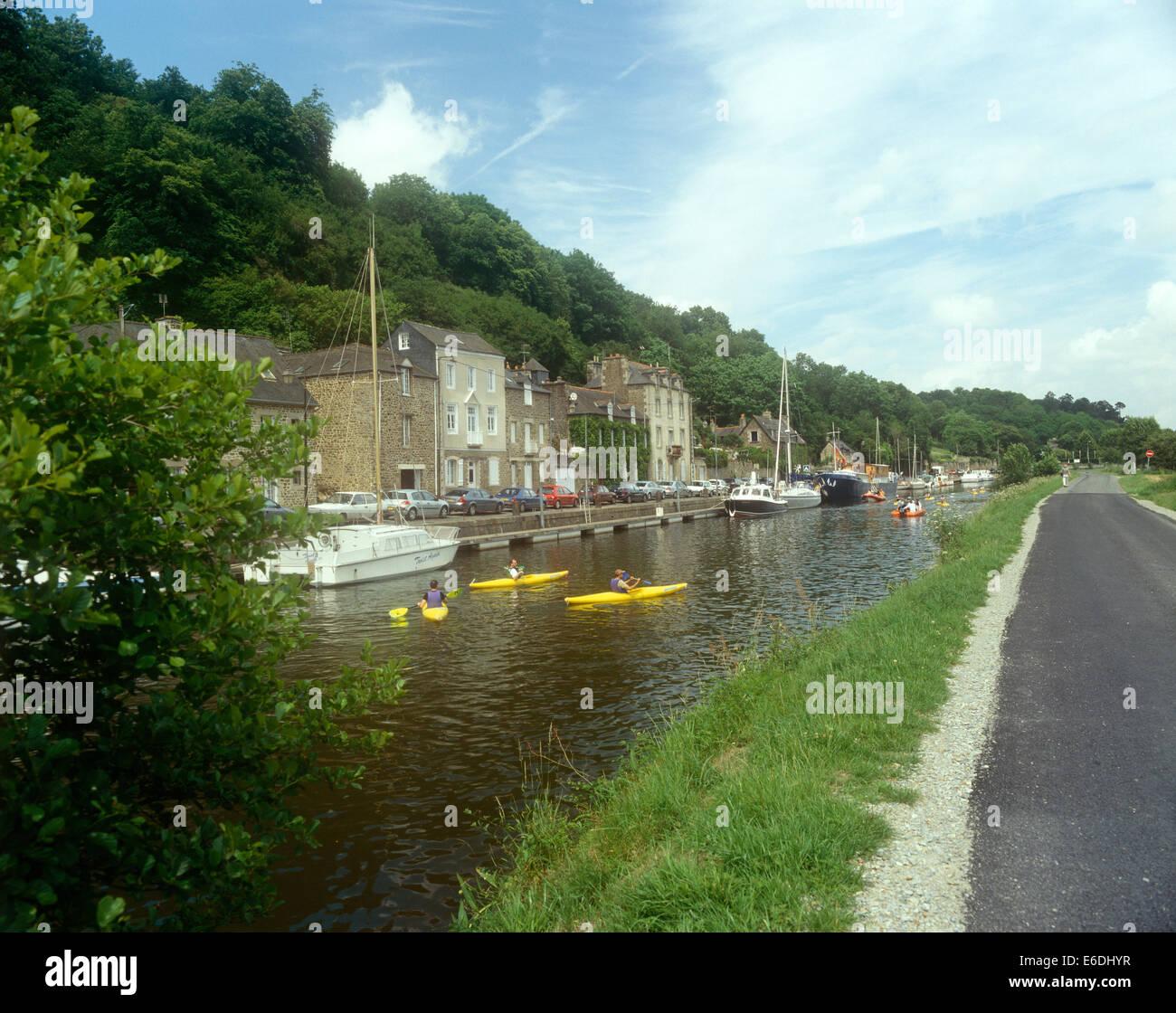 Riverside Dinan France - Stock Image