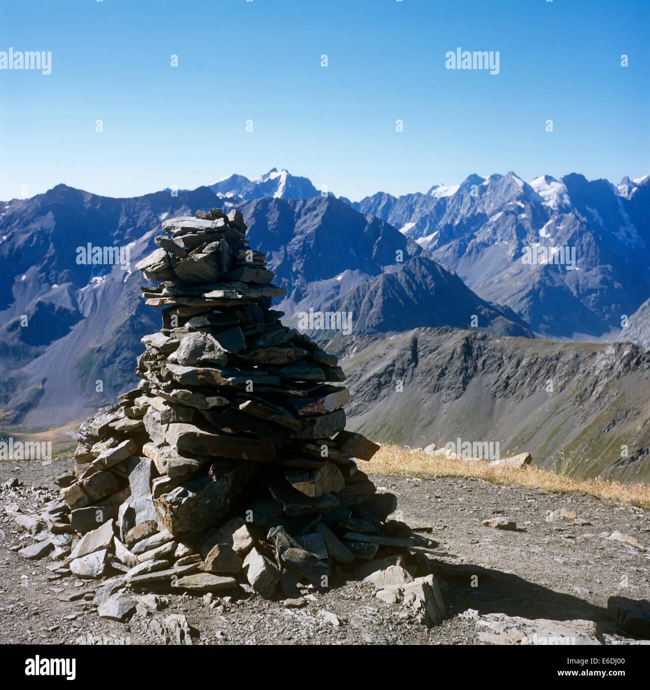 Cairn on Pie de Galibier Savoie France - Stock Image