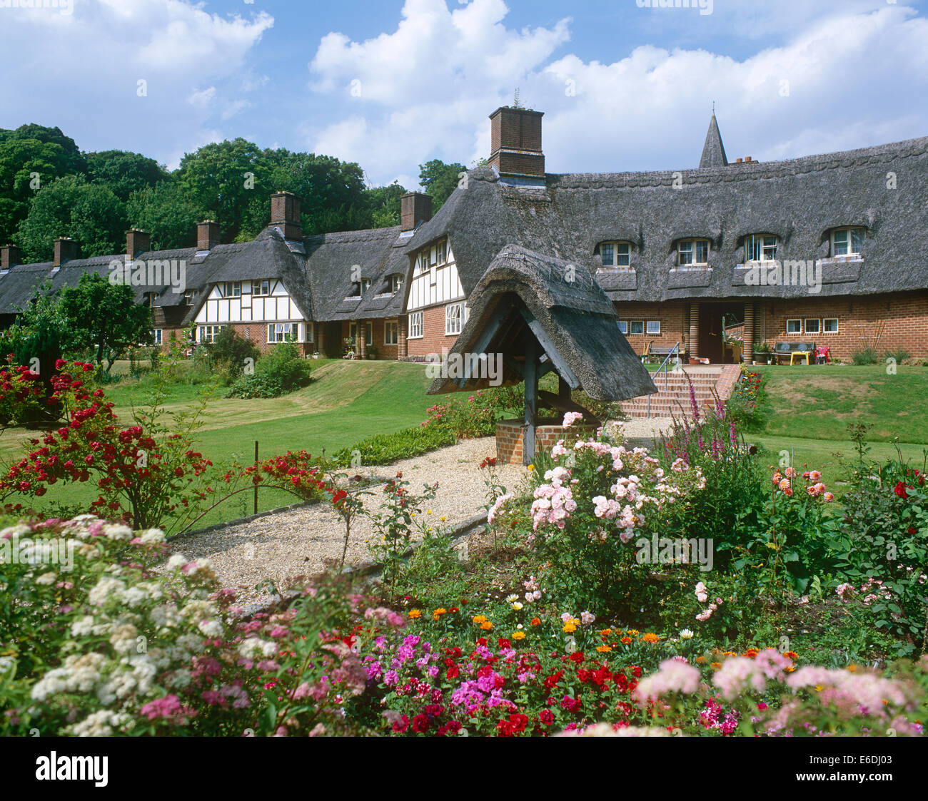 Cottages Freefolk Hampshire UK - Stock Image