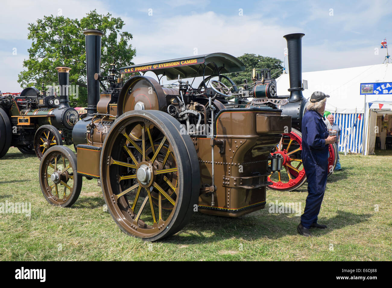 Veteran John Fowler 5 ton steam traction engine brown livery at Stow cum Quy Cambridgeshire Steam Rally and Country Stock Photo