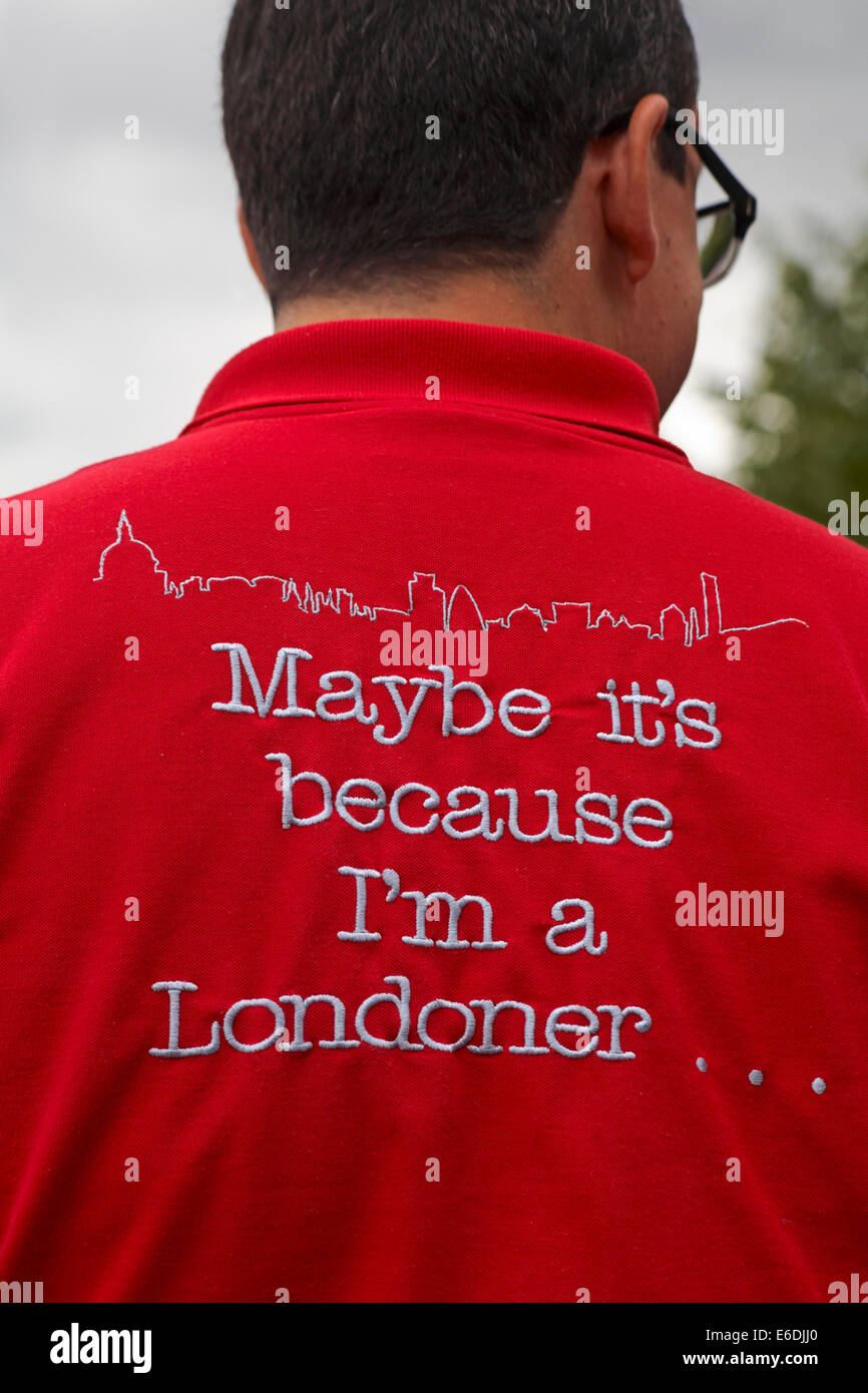 waiter wearing maybe it's because I'm a Londoner shirt at London in August - Stock Image
